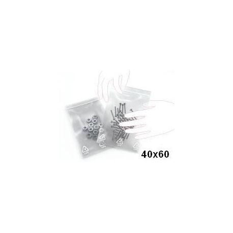 Sachets plastique tansparents femeture ZIP 40x60 mm