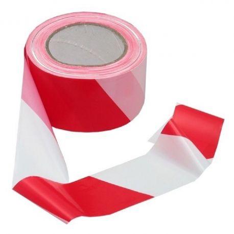 6 rubans rouleaux de signalisation rouge et blanc rubalise 50 x 50 ml