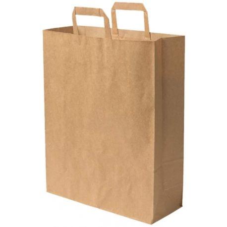 50 sacs papier kraft brun poignées plate 22x12x30 cm 100 % recyclable